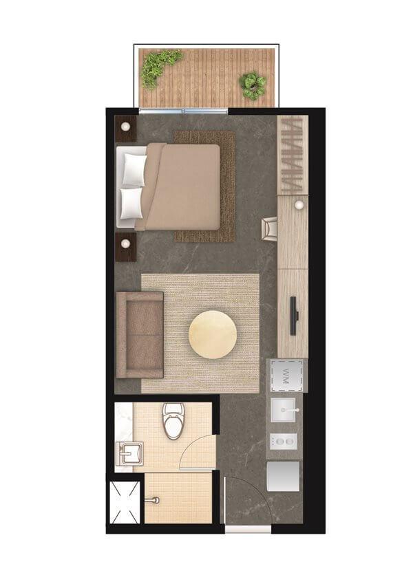 Denah Apartemen West Vista tipe 1 kamar